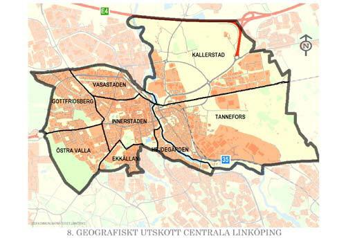 linköping områden karta Centrala Linköping   linkoping.se linköping områden karta